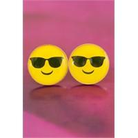 Morvizyon Emoji Tasarımlı Havalı Sarı Yuvarlak Yüz İfadeli Bayan Küpe Modeli