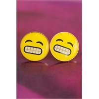 Morvizyon Emoji Tasarımlı Sarı Yuvarlak Yüz İfadeli Bayan Küpe Modeli