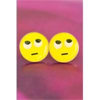 Morvizyon Emoji Tasarımlı Düşünceli Yüz İfadeli Sarı Yuvarlak Bayan Küpe Modeli