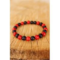Morvizyon Kırmızı & Siyah Boncuk Tasarımlı Şık Havlit Doğal Taş Erkek Bileklik Modeli