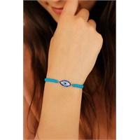 Morvizyon Mavi İp Tasarımlı Kristal Taşlı Mavi Renk Bayan Bileklik Modeli