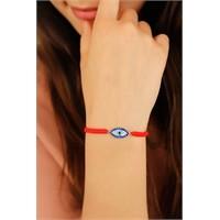 Morvizyon Kırmızı İp Tasarımlı Mavi Taşlı Bayan Bileklik Modeli