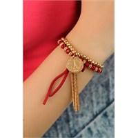 Morvizyon Sarı & Kırmızı Boncuk Tasarımlı Bayan Bileklik Modeli