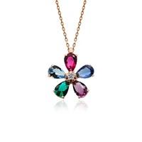 İndigo Takı Renkli Taş Çiçek Gümüş Kolye