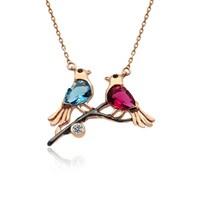 İndigo Takı Renkli Aşk Kuşları Gümüş Kolye