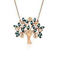 İndigo Takı Turkuaz Hayat Ağacı Gümüş Kolye