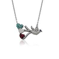 İndigo Takı Kalpli Uçan Kuş Gümüş Kolye
