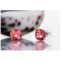 Byzinci Zirkon Kristal Kırmızı Küpe