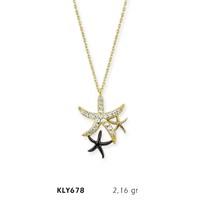 Romeo Pırlanta 14 Ayar Altın Deniz Yıldızı Kolye Kly678