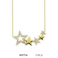 Romeo Pırlanta 14 Ayar Altın Yıldız Kolye Kly716
