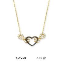 Romeo Pırlanta 14 Ayar Altın Kalp Sonsuzluk Kolye Kly750