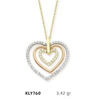 Romeo Pırlanta 14 Ayar Altın 3 Kalp Kolyesi Kly760