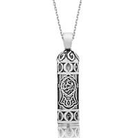 Tekbir Silver Gümüş Nal-İ Şerif Desenli Cevşen Kolye