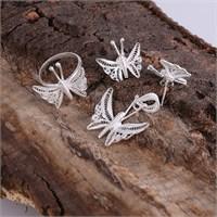 Sanal Kuyumculuk 925 Ayar Gümüş Küpe,Kolye Ucu, 17 Numara Yüzük Set Takı