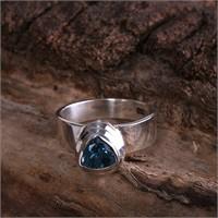 Sanal Kuyumculuk 925 Ayar Gümüş Blue Topaz Taş 15 Numara Yüzük