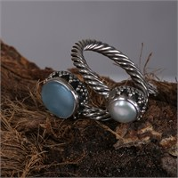 Sanal Kuyumculuk 925 Ayar Gümüş Ay- Larimar Taş Ayarlanabilir Yüzük