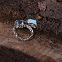 Sanal Kuyumculuk 925 Ayar Gümüş Larimar Ve Blue Topaz Taş Ölçüsüz Ayarlanabilir Yüzük