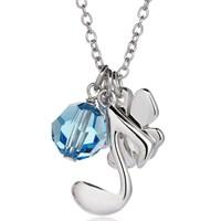 Bayan Lili Aquamarine Gümüş Solfej Kolye