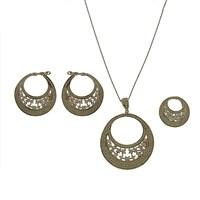 Bayan Lili Gümüş Taşlı Tasarım Set