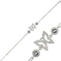 Bayan Lili Nazarlıklı Gümüş Kelebek Bileklik