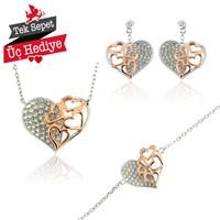 Bayan Lili 3'Lü Gümüş Kalp Set Boyut