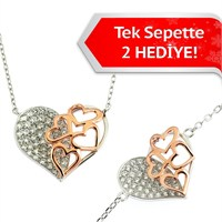 Bayan Lili Gümüş Kalp Kalpte 2'Li- Set
