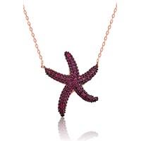 Olivin Accesories Gümüş Pembe Deniz Yıldızı Kolye