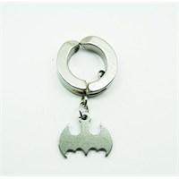 Gümüş Rengi Batman Çelik Sıkıştırma Küpe