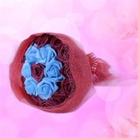 Sevgiliye Romantik Hediye Bordo Mavi Taraftar Buket