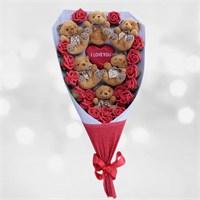 Sevgiliye Romantik Hediye I Love You Ayıcık Buketi