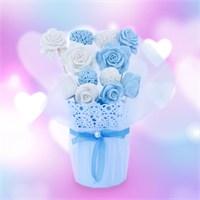 Hoşgeldin Bebek Hediyesi Gül Temalı Mavi Beyaz Sabun Aranjmanı