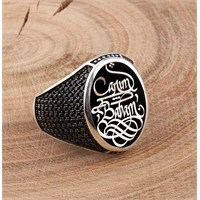 Tesbihevim Babalar Gününe Özel Kaligrafi Sanatı Canım Babam Yazılı Özel Tasarım Gümüş Yüzük