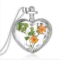 Güven Altın Yaşayan Kolyeler Kristal Cam Kurutulmuş Çiçekler Yk19