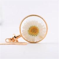 Güven Altın Yaşayan Kolyeler Kristal Cam Kurutulmuş Çiçekler Yk68