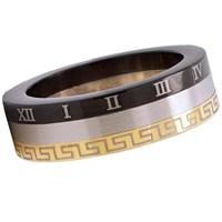 Sette Greek Desenli Çelik Unısex Yüzük 9Ag05