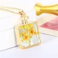 Güven Altın Yaşayan Kolyeler Kristal Cam Kurutulmuş Çiçekler Yk127