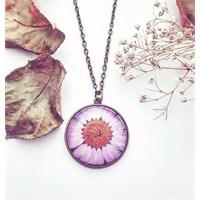Güven Altın Yaşayan Kolyeler Kristal Cam Kurutulmuş Çiçekler Yk152