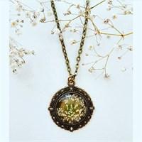 Güven Altın Yaşayan Kolyeler Kristal Cam Kurutulmuş Çiçekler Yk175