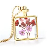 Güven Altın Yaşayan Kolyeler Kristal Cam Kurutulmuş Çiçekler Yk97