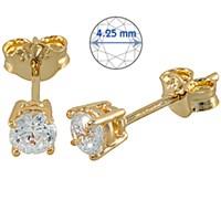 Goldstore 14 Ayar Altın Tek Taş Küpe GES15874