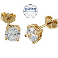 Goldstore 14 Ayar Altın Tek Taş Küpe GES15876