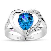 Bella Gloria Altın Kaplamalı Pırlanta Damla Mavi Topaz Kalpli Yüzük (GPY0007)