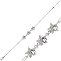 Tekbir Silver 925 Zirkon Taşlı Kalpli Yıldız Bileklik BR0460108