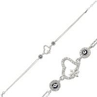 Tekbir Silver 925 Nazarlı Kartanesi Kalp Bileklik BR0460044