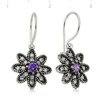 Bayan Lili Renkli Taşlı Çiçek Gümüş Küpe
