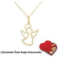 eJOYA Meleksin Altın Kolye AG2012 Çikolatalı Özel Kalp Kutusunda