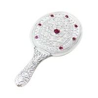 AltınSepeti Kırmızı Taşlı İşlemeli Gümüş El Aynası GA013