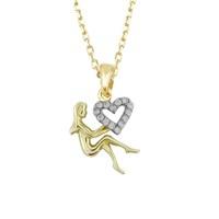 AltınSepeti Aşka Tutunan Kalpli Altın Peri Kolye AS563KL