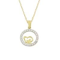 AltınSepeti Halka İçinde Kalp ve Kelebek Altın Kolye AS512KL