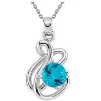 Goldstore Gümüş Blue Topaz Kolye Sp17030